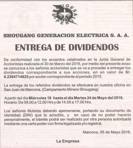Entrega de Dividendos 2015